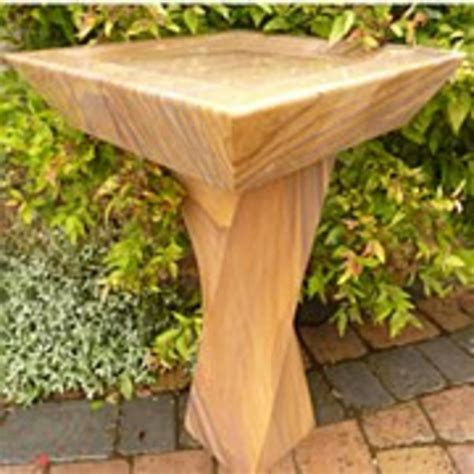 barrel garden rainbow sandstone square bird bath