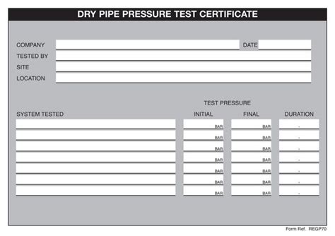 pressure test certificate template regin regp70 pipe pressure test certificates