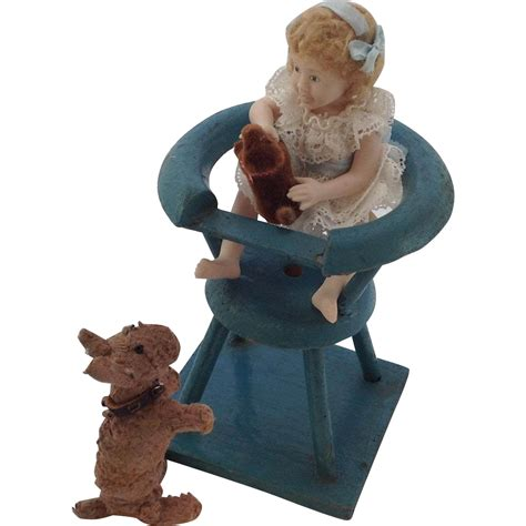 cleaning a bisque doll doll house high chair and with bisque doll