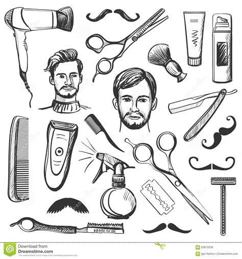 set of vintage barber shop elements stock vector image