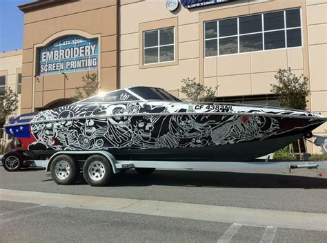 boat vinyl wrapping near me custom boat wrap with custom hand drawn graphics yelp