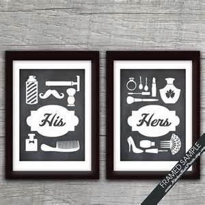 bathroom print his and hers bathroom prints series b set of 2 print