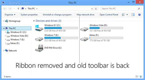 ribbon windows how to disable new ribbon ui in windows 8 8 1 explorer