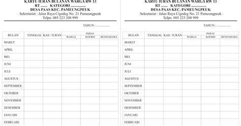 format buku data warga masyarakat download file download contoh kartu iuran warga