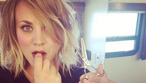 new hair look in 2014 kaley cuoco got new hair style looks cute in pixie