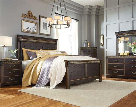 brown gold bedroom dark brown and gold bedroom set harveill bedroom set