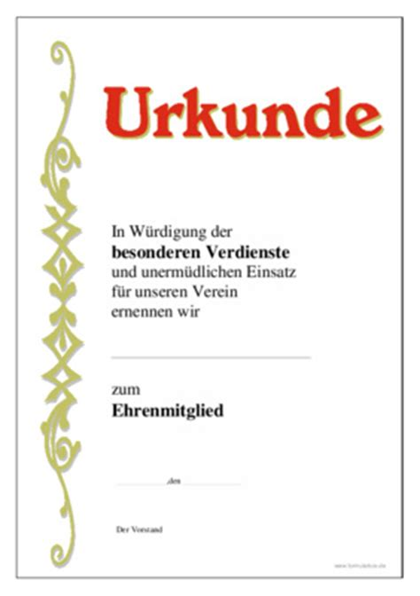 Moderne Urkundenvorlage Urkunde Ehrenmitglied Verdienste Vorlagen Und Muster Zum Downloaden