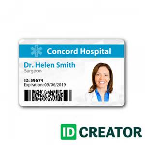 hospital id card template doctor id badge same day shipping from idcreator