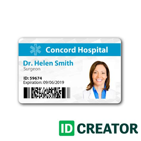 free printable id card maker doctor id badge same day shipping from idcreator