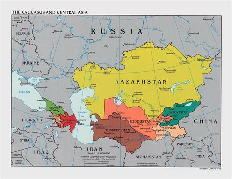 political map of asia with capitals large political map of the caucasus and central asia with