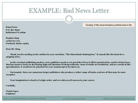 Writing A Business Letter With Bad News business letter conveying bad news 28 images karim