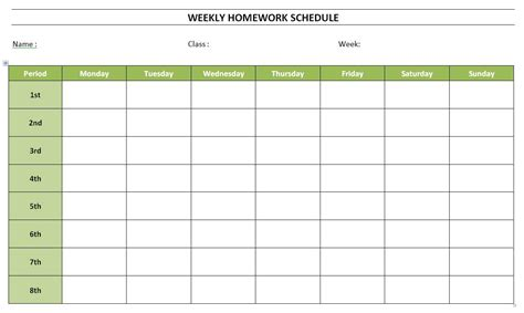 home schedule template free weekly homework schedule template