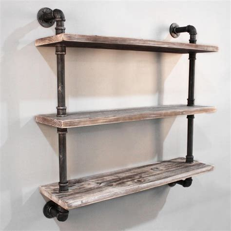3 level rustic industrial timber pipe shelf 92cm buy