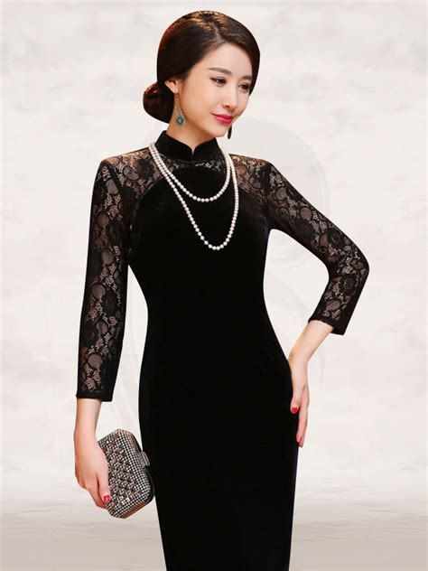 Velvet Sleeve Collar Dress lace sleeve black velvet traditional mandarin
