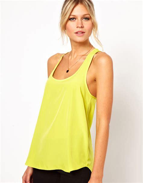 Yellow Top 1 2014 sale brand tops low cut chiffon tank top vest yellow green top ruffles