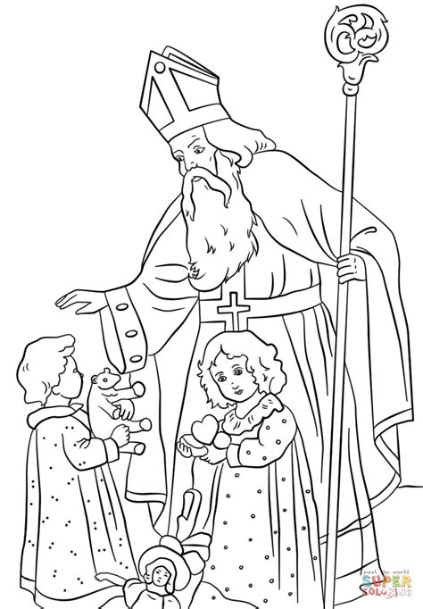 St Nicholas Greets Children Coloring Page Free St Nicholas Coloring Page