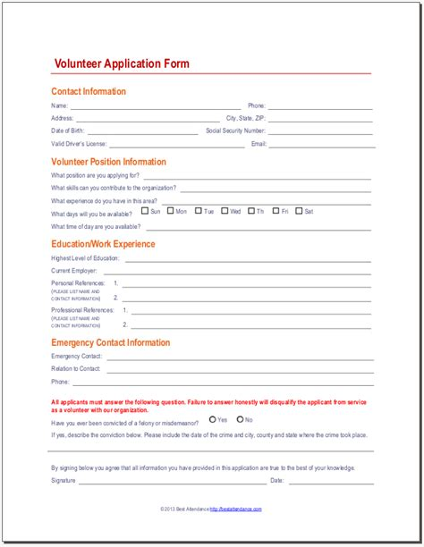 Printable Registration Form Template Hunecompany Com Volunteer Application Form Template