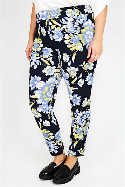 Idw081 Yellow Size 14 5 navy blue yellow floral print cigarette trousers plus