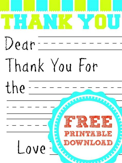 printable thank you cards free free printable thank you card for kids