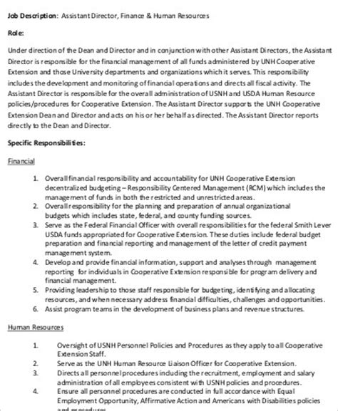 hr director description sle 10 exles in word pdf