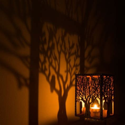 construction paper tree lit with tea light barred owl in tree laser cut wood candle luminary 5 quot x5 quot x7 quot tea light candle included free