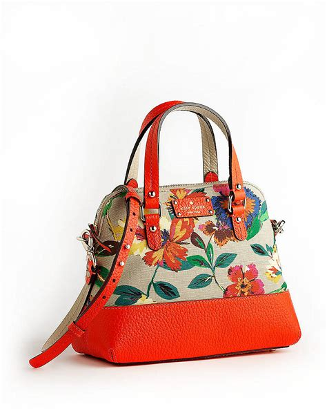 Tas Kate Spade New York Grove Court Maise Satchel 412 Semi Platinum kate spade grove court floral maise leather crossbody satchel in orange mutli lyst