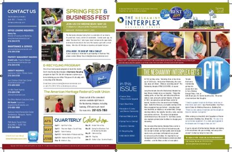 neshaminy interplex newsletter quarterly calendar