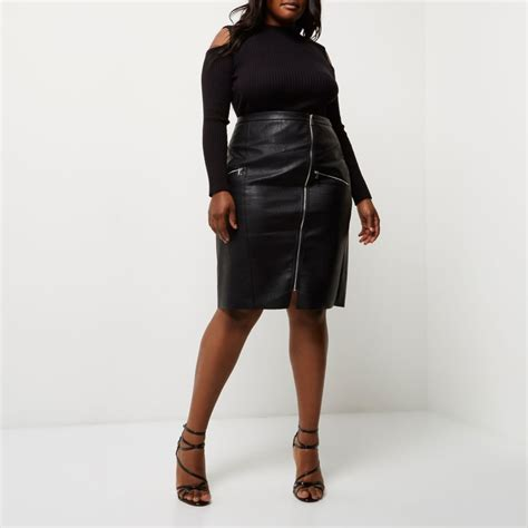 plus black leather look pencil skirt skirts sale