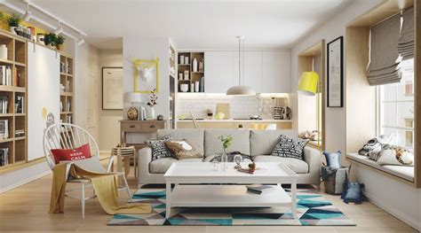 blue and yellow decor nordic living room interior design bring out a cheerful impression roohome designs plans