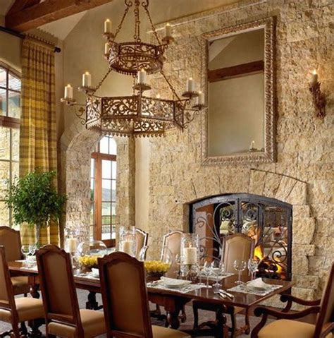 modern spanish style dining room  stone wall google