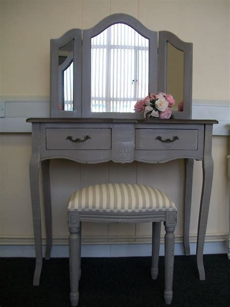 grey mirrored dressing table french country dressing table mirror stool vintage chic