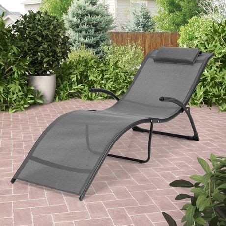 corliving riverside folding black  silver grey patio lounge chair walmart canada