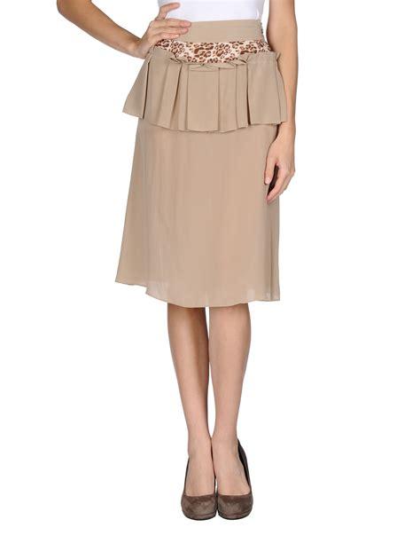 just cavalli knee length skirt in beige lyst