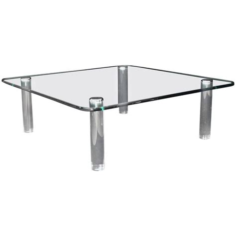 Coffee Table Rounded Corners Large Square Rounded Corners Glass Top Coffee Table On Cylinder Lucite Legs 3 4 For Sale At 1stdibs