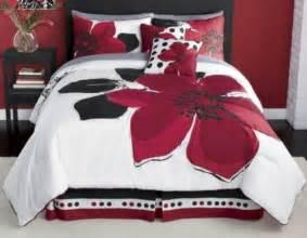 Marisol red black white comforter bed in a bag set king size bedding