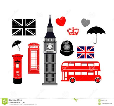 london england icon collection stock vector image 58822633