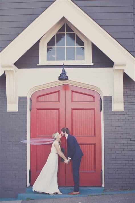 whimsical portland wedding at door of church