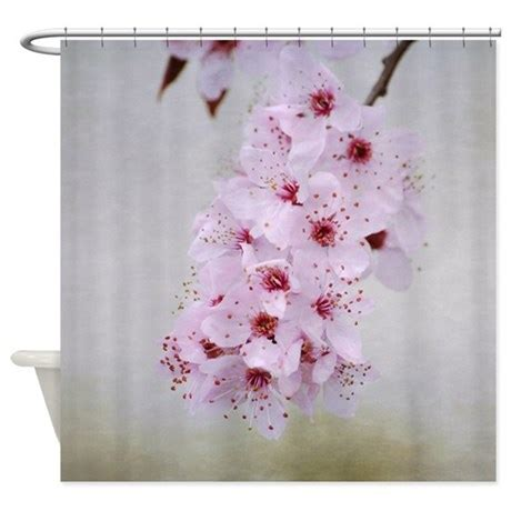cherry blossom bathroom decor pink cherry blossom flowers branch shower curtain by be