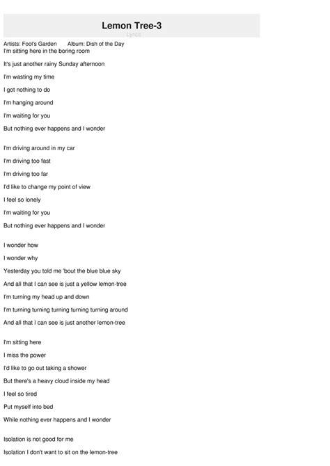 tree lyrics songtext