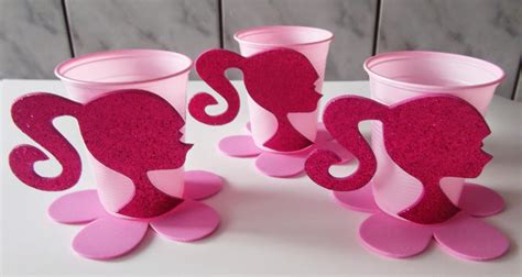 vasos desechables fashion runway stylish pink barbie party barbie party
