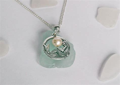 Mermaid Necklace aqua sea glass necklace with mermaid sea glass jewelry