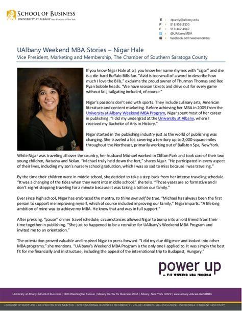 Ualbany Mba Program by Ualbany Weekend Mba Stories Nigar Hale