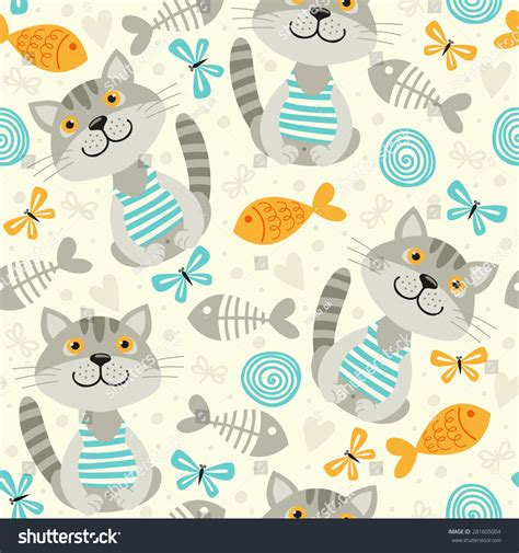seamless pattern cats seamless pattern with cats stock vector illustration
