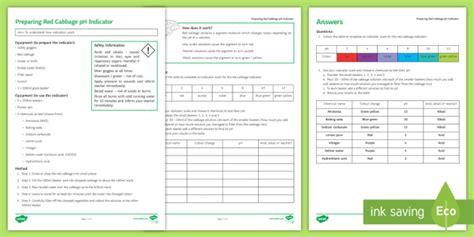 Cabbage Indicator Worksheet