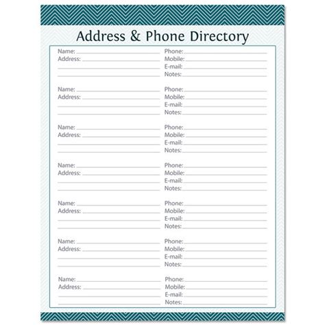 Directory By Address Address Phone Directory Fillable Printable Pdf By Organizelife