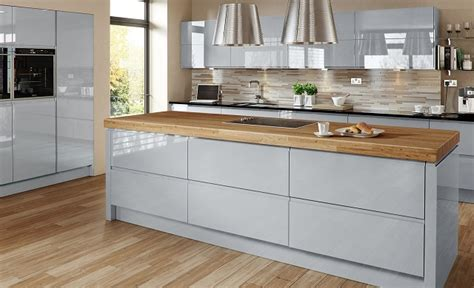 Multi Wood Kitchen Cabinets Welford Handleless High Gloss Grey Page 1