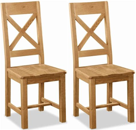 Oak Wood Dining Chairs Buy Global Home Salisbury Oak Dining Chair Cross Back With Wooden Seat Pair Cfs Uk