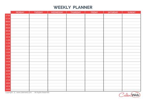 7 day calendar template weekly planner 7 days day monday a week of 7 days
