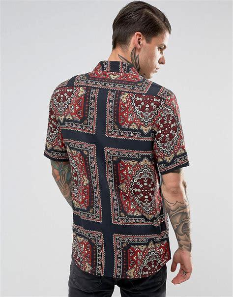 Bandana Reguler lyst asos regular fit viscose bandana print shirt in black for