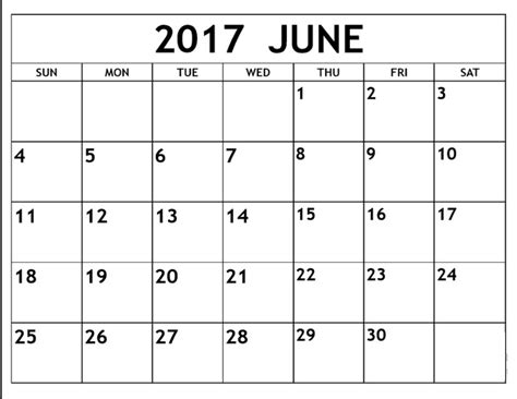 Calendar 2017 June Month January To December 2017 Monthly Calendar Free Monthly